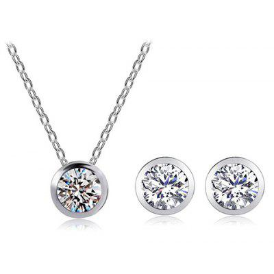 A Suit of Graceful Rhinestone Round Pendant Necklace and Earrings For Women