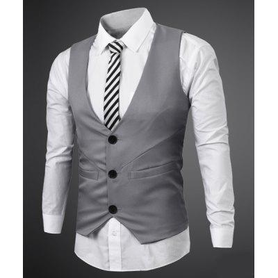 Simple Style V Neck Fake Belt Sleeveless Men's Waistcoat