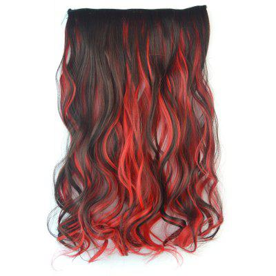Stylish Long Fluffy Curly Stunning Deep Brown Mixed Red Synthetic Hair Extension For Women