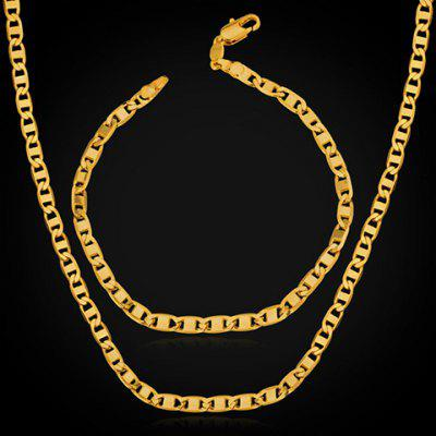 A Suit of Chic Solid Color Link Chain Necklace and Bracelet For Men