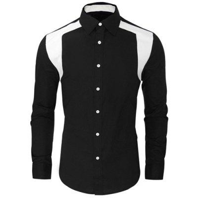 Block Spliced Men\'s Black Shirt