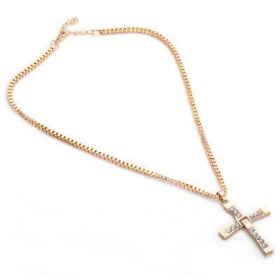 Fashionable Cross Rhinestone Alloy Necklace for Ladies