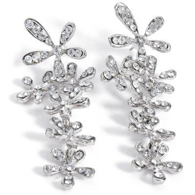 Old Classical Crystal Snowflake Long Dangle Earrings for Ladies
