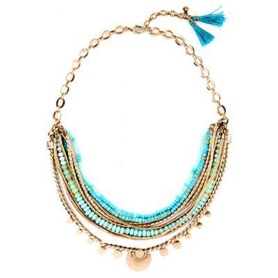Beads Tassel Faux Gemstone Chain Necklace
