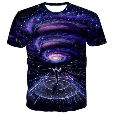 Modish 3D Colorful Starry Sky Print Slim Fit Round Neck Short Sleeves Men's Black T-Shirt