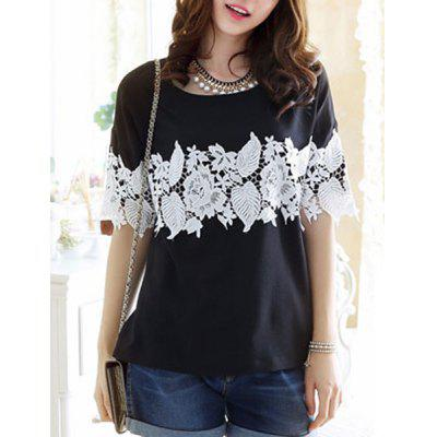 Women's Simple Scoop Neck Lace 1/2 Sleeve T-Shirt