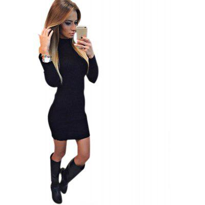Buy Stand Collar Long Sleeve Cut Out Pure Color Bodycon Women Dress, BLACK, M, Apparel, Women's Clothing, Women's Dresses, Bodycon Dresses for $12.38 in GearBest store
