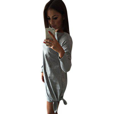 Buy GRAY Simple Scoop Collar Long Sleeve Solid Color Bowknot Women Mini Dress for $6.74 in GearBest store
