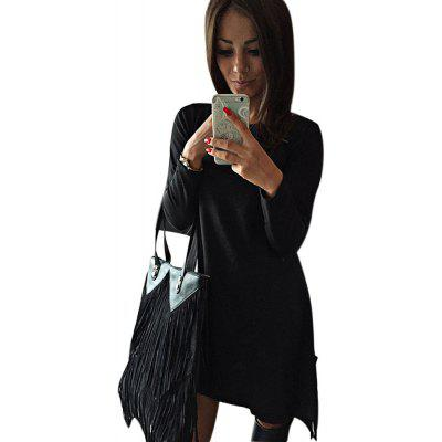 Simple Scoop Collar Long Sleeve Solid Color Bowknot Women Mini Dress