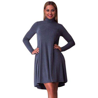 Buy GRAY BLUE Women Casual Stand Collar Solid Color Long Sleeve Pleated Mini Dress for $10.47 in GearBest store