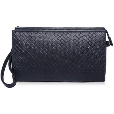 Stylish Weaving and PU Leather Design Men's Clutch Bag
