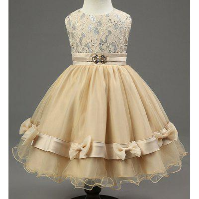 Buy YELLOW Sweet Sleeveless Round Neck Bowknot Embellished Girl's Princess Dress for $19.20 in GearBest store
