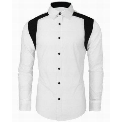Buy WHITE Color Block Spliced Design Turn-Down Collar Long Sleeve Men's Shirt for $11.62 in GearBest store