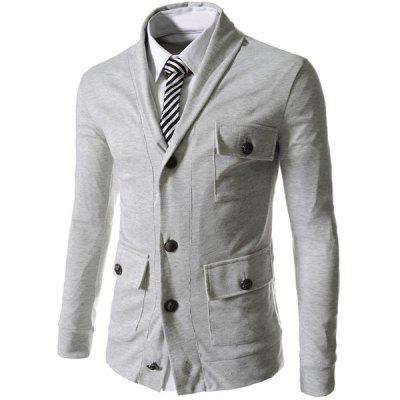 Lapel Single Breasted Long Sleeve Pockets Embellished Cotton Blends Men's Jacket