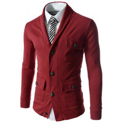 Buy WINE RED M Lapel Single Breasted Long Sleeve Pockets Embellished Cotton Blends Men's Jacket for $10.24 in GearBest store