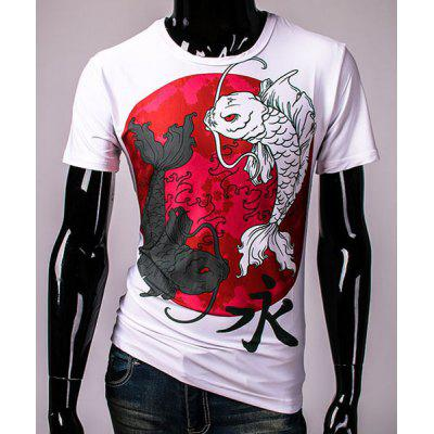 3D Chinese Character Fish Print Hit Color Round Neck Short Sleeves Men's Slim Fit T-Shirt