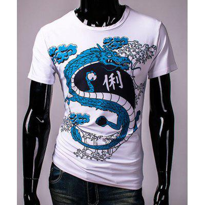 Hot Sale Round Neck 3D Chinese Character and Dragon Print Short Sleeves Men's Slim Fit T-Shirt