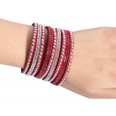 Stylish Multilayer Diamond Artificial Leather Bracelet for Men Women
