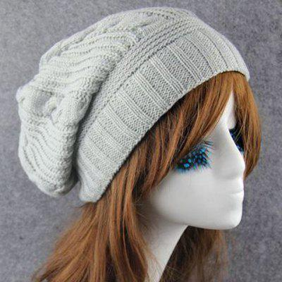 Chic Hemp Flowers Stripy Knitted Beanie For Women
