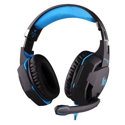 EACH G2100 USB and Audio Jack Dual Input Gaming Headphones Stereo Sound Vibration Headset Stretchable Band 2.2m Nylon - coated Cable for PC Game