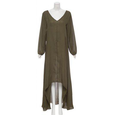 Women Trendy Solid Color V-Neck Long Sleeve Irregular Dress