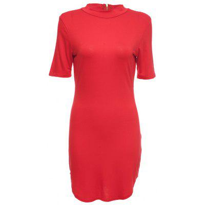 Simple Stand Collar Short Sleeve Pure Color Bodycon Women Mini Dress