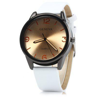 Geneva Leather Strap Men Quartz Watch