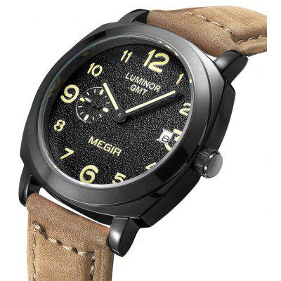 MEGIR 1046 Genuine Leather Band Men Japan Quartz Watch