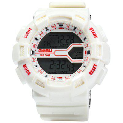 Gobu 1584 Men LED Sports Watch Military WristwatchSports Watches<br>Gobu 1584 Men LED Sports Watch Military Wristwatch<br><br>Available Color: White,Pink,Red,Blue,Purple,Black<br>Band material: Rubber<br>Brand: Gobu<br>Case material: PC<br>Clasp type: Pin buckle<br>Display type: Digital<br>Hour formats: 24 Hour<br>Movement type: Digital watch<br>Package Contents: 1 x Gobu 1584 Watch<br>Package size (L x W x H): 26 x 6 x 2.2 cm / 10.22 x 2.36 x 0.86 inches<br>Package weight: 0.117 kg<br>People: Male table<br>Product size (L x W x H): 25 x 5 x 1.2 cm / 9.83 x 1.97 x 0.47 inches<br>Product weight: 0.067 kg<br>Special features: EL Back-light, Stopwatch, Alarm Clock, Day, Date<br>The band width: 2.0 cm / 0.79 inches<br>The dial diameter: 5.0 cm / 1.97 inches<br>The dial thickness: 1.2 cm / 0.47 inches<br>Watch style: LED, Outdoor Sports<br>Water resistance: 30 meters