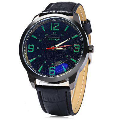 Rosivga Male Quartz Watch with Three Scales Leather Strap