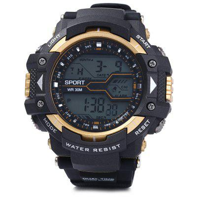 8338G Multifunctional Men LED Sports Watch Digital WristwatchSports Watches<br>8338G Multifunctional Men LED Sports Watch Digital Wristwatch<br><br>Available Color: Gold,Green,Blue,Red,Black<br>Band material: Rubber<br>Case material: PC<br>Clasp type: Pin buckle<br>Display type: Digital<br>Movement type: Digital watch<br>Package Contents: 1 x 8338G Watch<br>Package size (L x W x H): 27.5 x 6 x 2.5 cm / 10.81 x 2.36 x 0.98 inches<br>Package weight: 0.113 kg<br>People: Male table<br>Product size (L x W x H): 26.5 x 5 x 1.5 cm / 10.41 x 1.97 x 0.59 inches<br>Product weight: 0.063 kg<br>Shape of the dial: Round<br>Special features: EL Back-light, Alarm Clock, Date, Stopwatch, Day<br>The band width: 2.2 cm / 0.86 inches<br>The dial diameter: 5.0 cm / 1.97 inches<br>The dial thickness: 1.5 cm / 0.59 inches<br>Watch style: Outdoor Sports, LED<br>Water resistance: 30 meters<br>Wearable length: 17 - 22.5 cm / 6.69 - 8.86 inches
