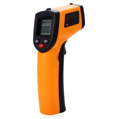 GM320 Infrared ThermometerTemperature Instruments<br>GM320 Infrared Thermometer<br><br>Accuracy: 1.5 C or 1.5 percent<br>Certificate: CE,FCC,RoHs<br>Laser Beam: Class 2, less than 1mW<br>Material: ABS<br>Maximum Show Value: 380 C<br>Measurement range: -50 to 380 C<br>Measuring implement: Other<br>Model: GM320<br>Package Contents: 1 x GM320 Infrared Thermometer, 1 x English Manual<br>Package size: 18.50 x 13.00 x 4.00 cm / 7.28 x 5.12 x 1.57 inches<br>Package weight: 0.200 kg<br>Primary functions: Surface temperature measurement<br>Product size: 14.50 x 4.00 x 9.00 cm / 5.71 x 1.57 x 3.54 inches<br>Product weight: 0.100 kg<br>Sampling Time: 500ms<br>Scope of application: Office, Industrial, Home appliance, Education, Agricultural<br>Temperature and humidity instrument: Infrared thermometer<br>Type: Measuring instruments<br>Working Mode: Infrared testing<br>Working Power: AAA 1.5V battery