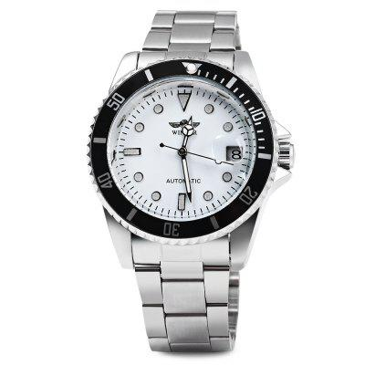 Winner W016 - 1 Business Automatic Mechanical WatchMens Watches<br>Winner W016 - 1 Business Automatic Mechanical Watch<br><br>Available Color: Black,White<br>Band material: Stainless Steel<br>Brand: Winner<br>Case material: Stainless Steel<br>Clasp type: Folding clasp with safety<br>Display type: Analog<br>Movement type: Automatic mechanical watch<br>Package Contents: 1 x Winner W016-1 Men Mechanical Watch<br>Package size (L x W x H): 27.00 x 5.20 x 2.20 cm / 10.63 x 2.05 x 0.87 inches<br>Package weight: 0.1680 kg<br>Product size (L x W x H): 26.00 x 4.20 x 1.20 cm / 10.24 x 1.65 x 0.47 inches<br>Product weight: 0.1080 kg<br>Shape of the dial: Round<br>Special features: Date<br>The band width: 1.8 cm / 0.71 inches<br>The dial diameter: 3.9 cm / 1.54 inches<br>The dial thickness: 1.2 cm / 0.47 inches<br>Watch style: Business<br>Watches categories: Male table<br>Water resistance: Life water resistant
