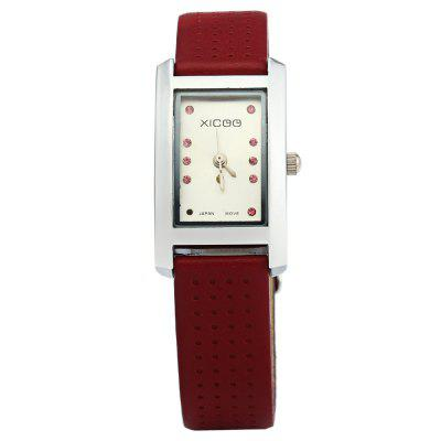 XICOO 450 Leather Band Diamond Women Quartz WatchWomens Watches<br>XICOO 450 Leather Band Diamond Women Quartz Watch<br><br>Available Color: Brown,Red,White,Black,White and Black<br>Band material: Leather<br>Brand: Xicoo<br>Case material: Stainless Steel<br>Clasp type: Pin buckle<br>Display type: Analog<br>Movement type: Quartz watch<br>Package Contents: 1 x XICOO 450 Watch<br>Package size (L x W x H): 22 x 2.5 x 1.6 cm / 8.65 x 0.98 x 0.63 inches<br>Package weight: 0.070 kg<br>Product size (L x W x H): 21 x 1.5 x 0.6 cm / 8.25 x 0.59 x 0.24 inches<br>Product weight: 0.020 kg<br>Shape of the dial: Round<br>Style: Fashion&amp;Casual<br>The band width: 0.6 cm / 0.24 inches<br>The dial diameter: 1.5 cm / 0.59 inches<br>The dial thickness: 0.6 cm / 0.24 inches<br>Watches categories: Female table<br>Wearable length: 15 - 20.5 cm / 5.9 - 8.07 inches