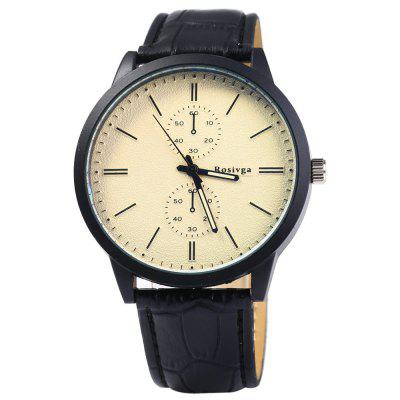 Rosivga 2222 Quartz Watch Decorative Sub-dials for MenMens Watches<br>Rosivga 2222 Quartz Watch Decorative Sub-dials for Men<br><br>Available Color: Green,Blue,Red,White,Black<br>Band material: Leather<br>Brand: Rosivga<br>Case material: Stainless Steel<br>Clasp type: Pin buckle<br>Display type: Analog<br>Movement type: Quartz watch<br>Package Contents: 1 x Rosivga 2222 Quartz Watch<br>Package size (L x W x H): 25 x 5.5 x 1.8 cm / 9.83 x 2.16 x 0.71 inches<br>Package weight: 0.093 kg<br>Product size (L x W x H): 24 x 4.5 x 0.8 cm / 9.43 x 1.77 x 0.31 inches<br>Product weight: 0.043 kg<br>Shape of the dial: Round<br>Special features: Decorating small sub-dials<br>Style elements: Stainless Steel<br>The band width: 1.8 cm / 0.71inches<br>The dial diameter: 4.5 cm / 1.77 inches<br>The dial thickness: 0.8 cm / 0.31 inches<br>Watch style: Fashion<br>Watches categories: Male table<br>Wearable length: 17 - 21 cm / 6.69 - 8.27 inches