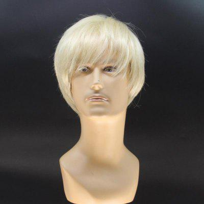 Stylish Short Straight Handsome Light Blonde Heat Resistant Fiber Wig For Men