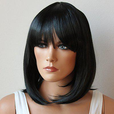 Fashion Medium Synthetic Bob Style Straight Full Bang Natural Black Cosplay Wig For Women