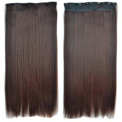 Attractive Brown Gradient Synthetic Fashion Long Glossy Straight Clip-In Hair Extension For Women