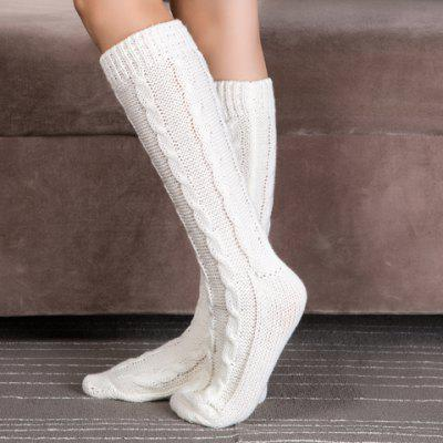 Pair of Chic Solid Color Hemp Flowers Patterned Knitted Stockings For Women