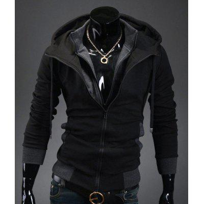 Casual Slim Fit Long Sleeve Solid Color Hooded Zipper Coat For Men