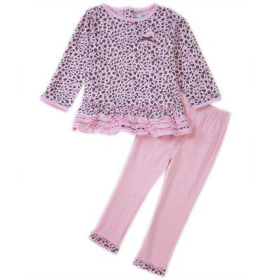 Chic Round Neck Long Sleeve Cotton Leopard Pattern Baby Girls Twinset