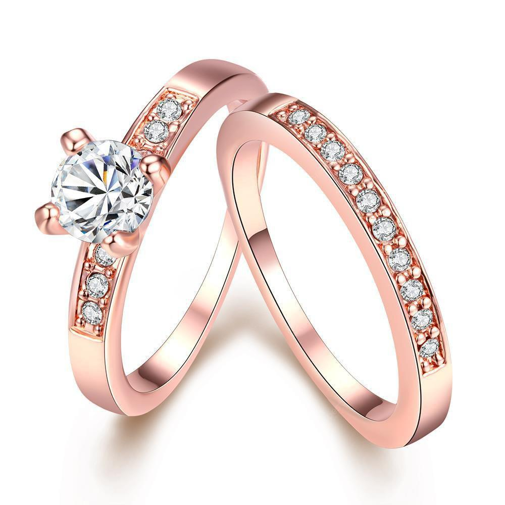 ROSE GOLD 7 R020-A Nickle Free Antiallergic New Fashion Jewelry Gold Plated Ring