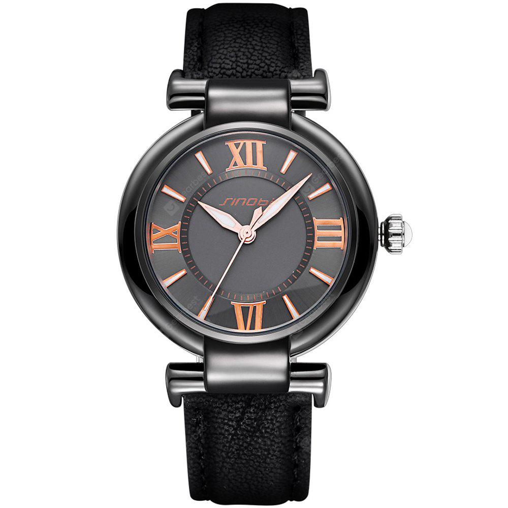 BLACK SINOBI 2672 Women Japan Quartz Watch PU Leather Strap