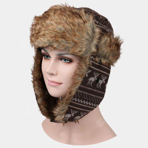 Stylish Christmas Deer Pattern Faux Fur Knitted Trapper Hat For Men