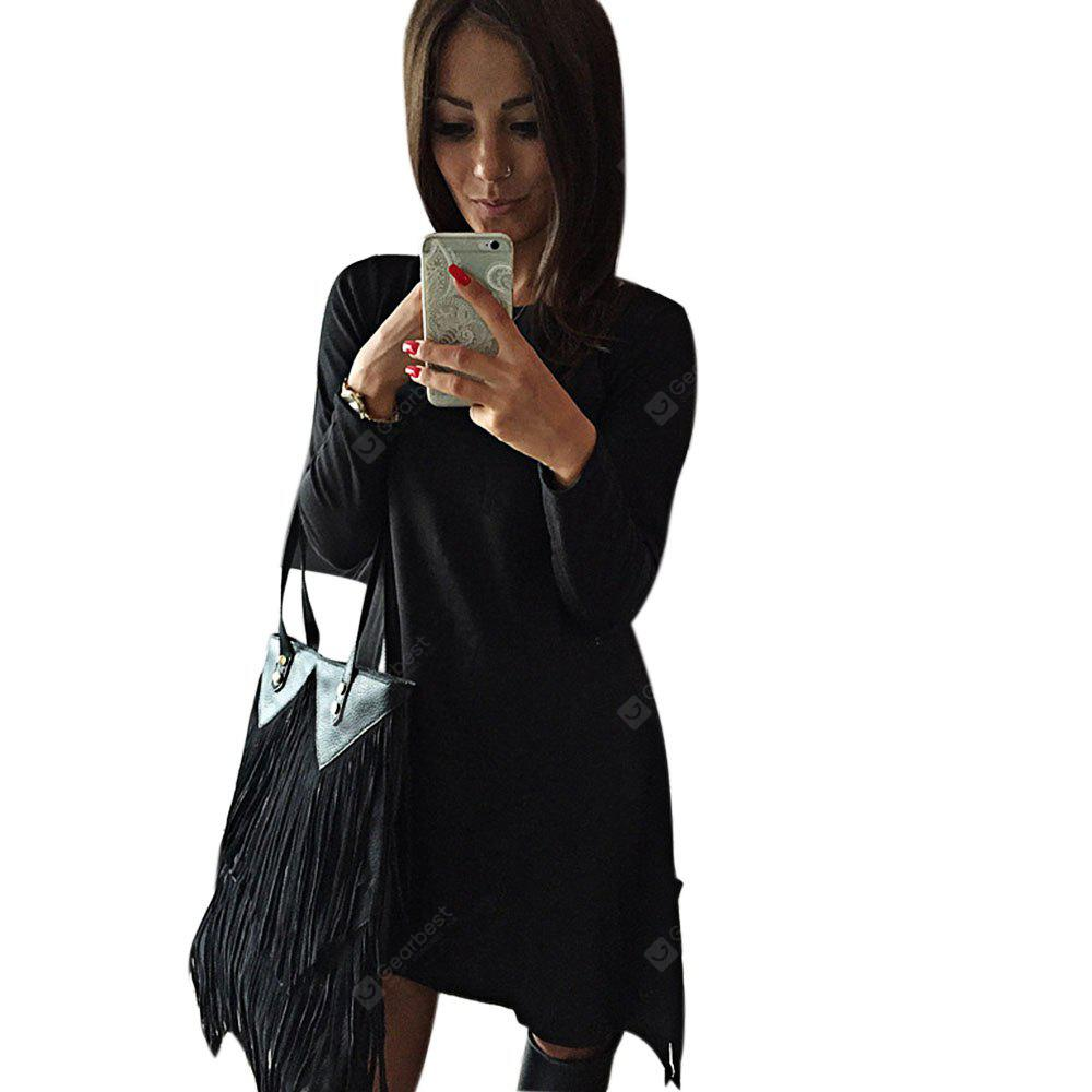 BLACK Simple Scoop Collar Long Sleeve Solid Color Bowknot Women Mini Dress