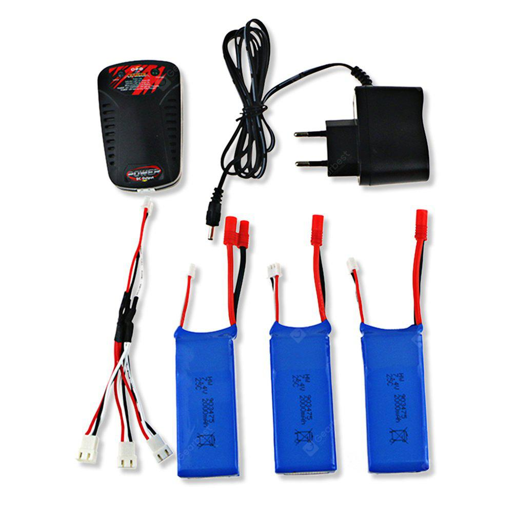 3 x 7.4V 2000mAh Battery + Charger + Cable / Power Adapter Set for Syma X8C X8W X8G X8HC X8HW Quadcopter