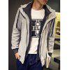 Casual Slim Fit Long Sleeve Solid Color Hooded Zipper Coat For Men - LIGHT GRAY