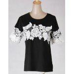 Women's Simple Scoop Neck Lace 1/2 Sleeve T-Shirt - BLACK