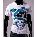 cheap Hot Sale Round Neck 3D Chinese Character and Dragon Print Short Sleeves Men's Slim Fit T-Shirt