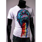 cheap Round Neck Colorful 3D Orangutan Pattern Print Short Sleeve Men's T-Shirt
